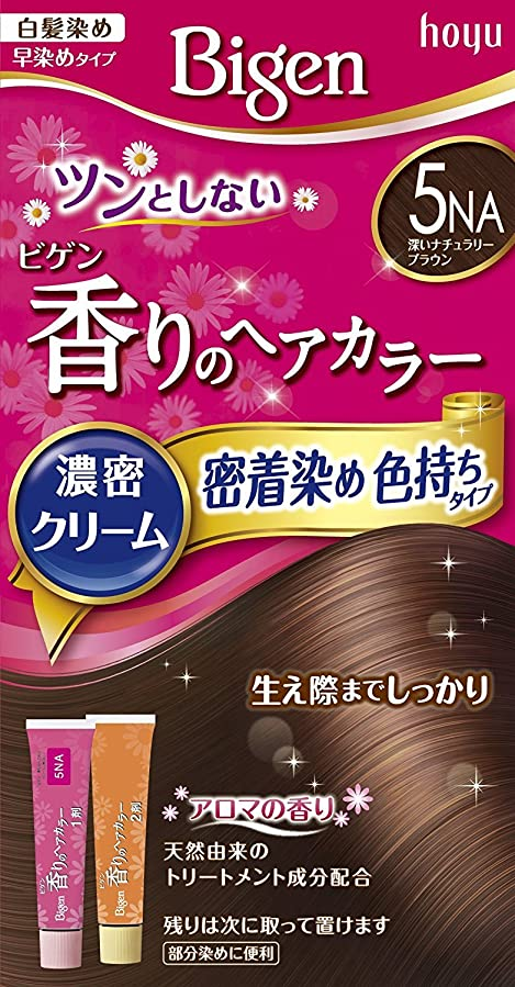 ラップラジウム田舎者ホーユー ビゲン香りのヘアカラークリーム5NA (深いナチュラリーブラウン) ×6個