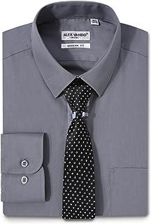 Mens Dress Shirts Regular Fit Long Sleeve Formal Shirt