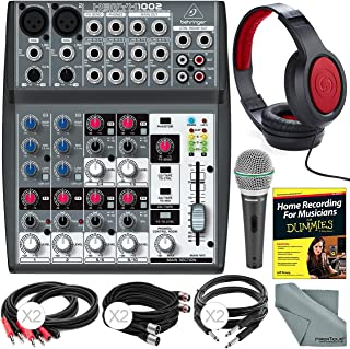 Behringer XENYX 1002-10 Channel Audio Mixer and Accessory Bundle w/Dynamic Mic + Closed-Back Headphones + 6X Cables + Home Recording Guide + Fibertique Cloth