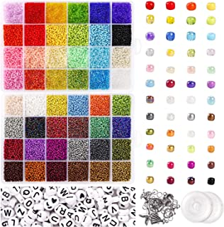 UOONY 35000 pcs Bracelet Beads for Jewelry Making Kit, Bead Craft Kit Set, 2mmGlass Seed Letter Alphabet Beads DIY Art and...