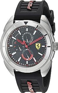 Ferrari Men's Forza Stainless Steel Quartz Watch with Silicone Strap, Black, 22 (Model: 0830546