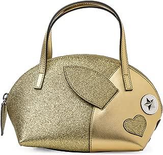 Gucci GG Canvas Children's Rabbit Top Handle Gold Metallic Heart Bag New