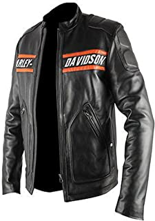 The Jacket Makers HD Motorcycle Black Leather Biker Jacket for Mens.