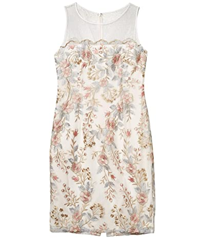 Adrianna Papell Embroidered Scalloped Sheath Dress (Pink Multi) Women