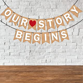 "Wobbox Jute Style White Text & Red Heart ""Our Story Begins"" Pre Wedding Bunting Banner, Pre-Wedding Decoration Item"
