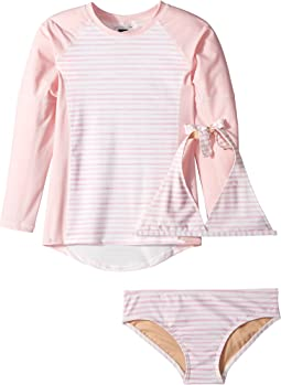 Toobydoo Sweet Pink Stripe Bikini & Rashguard Set (Infant/Toddler/Little Kids/Big Kids)