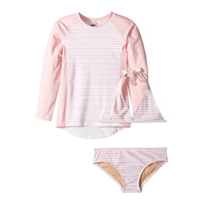 Toobydoo Sweet Pink Stripe Bikini Rashguard Set (Infant/Toddler/Little Kids/Big Kids) (Pink) Girl