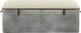 Deco 79 60966 METAL AND FABRIC STORAGE BENCH, Kamia 4-Tier Shoe Rack, Rustic Gray