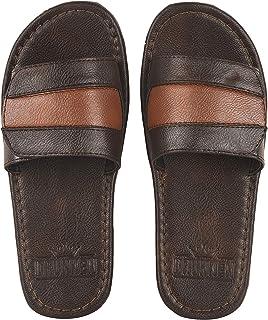DRUNKEN Men's Leather Synthetic Slippers Sandal