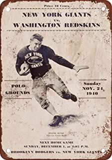 Kent Sparks 1940 New York Giants vs Washington Redskins Wall Painting Vintage Art for Bar Garage Cafe Home Funny Poster Bar Club Sign Wall Hanging - Tin Sign 12 x 8 inch