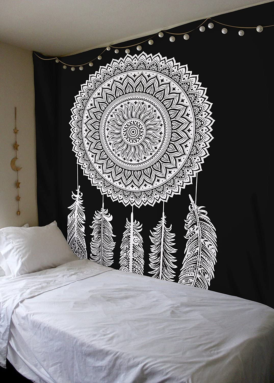 Royal Furnish Black-White Dream Cather Tapestry Boho Home Decor Blanket for Bedroom,Living Room,Dorm Psychedelic Bedding Aesthetic Indian Dorm Décor (Black-Dream Cather)