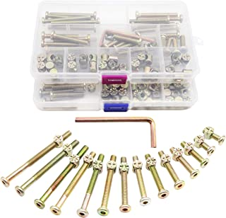 Baby Bed Screws Bolts Kit, binifiMux 84pcs[14 Sizes] M6 Hex Drive Socket Cap Bolts Barrel Nuts Assortment Kit for Cot Crib Bed Chairs, Zinc Plated