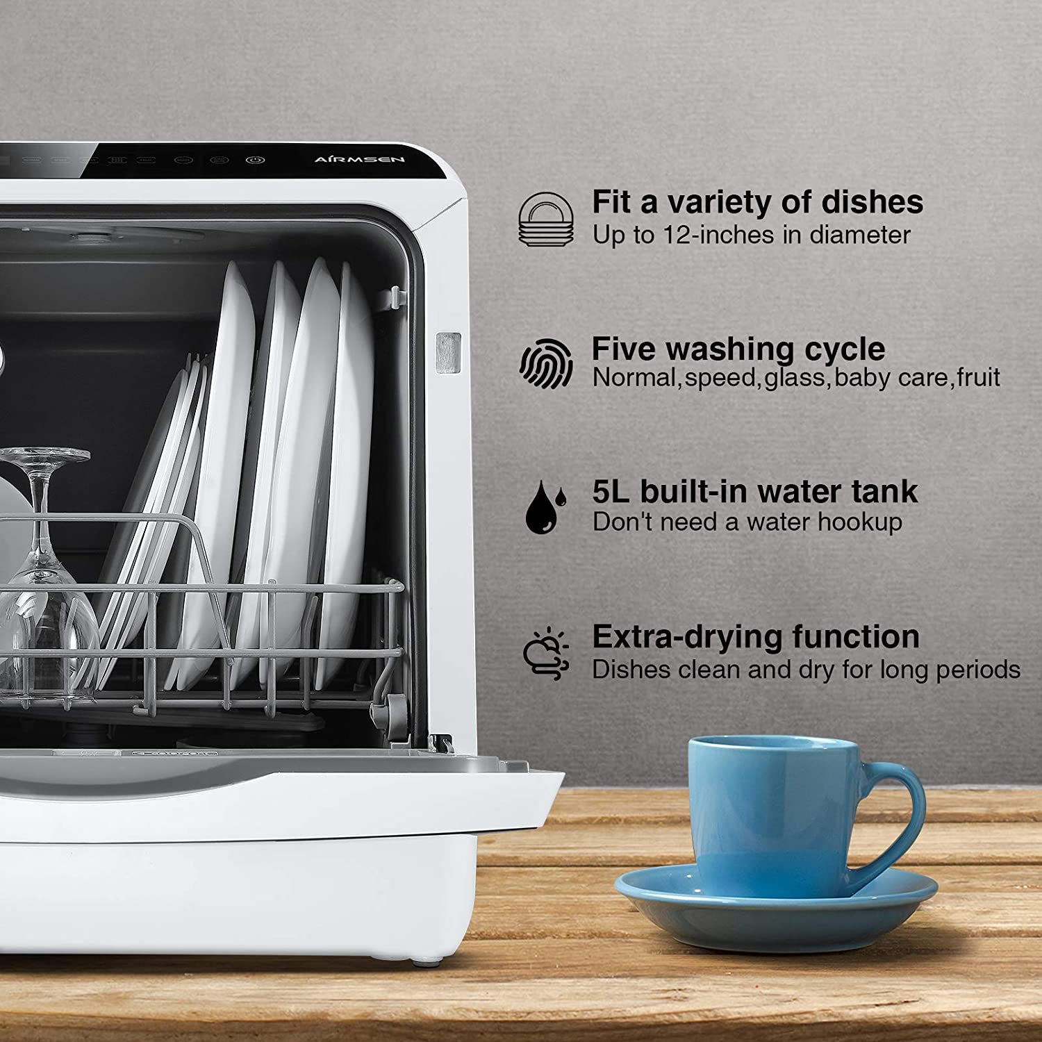 AIRMSEN AE-TDQR03 Portable Countertop Dishwasher, Compact Mini Dishwasher with 5-Liter Built-in Water Tank and Air-Dry Function, 5 Washing Programs, Baby Care, Glass & Fruit Wash-White/Black