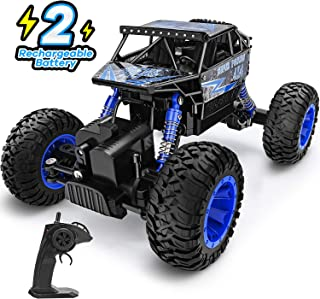 RC Car 1:18 Large Scale, 2.4Ghz All Terrain Waterproof Remote Control Truck with Two Battery,4x4 Electric Rapidly Off Road car for, Remote Control car for Kids Boys and Adults