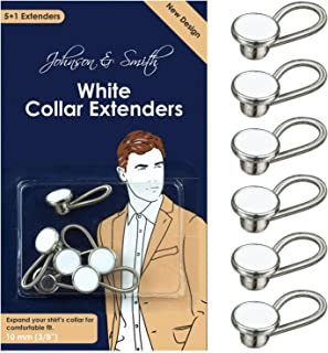 White Metal Collar Extenders by Johnson & Smith – Stretch Neck Extender for 1/2 Size Expansion of Men Dress Shirts, 5 +1 Pack, 3/8