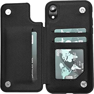 iPhone XR Case,xr Wallet Credit Card Case,ACXLIFE Protective Cover with Card Slot Holder and Leather Magnetic Closure Case for iPhone XR 6.1Inch (pu_Black)