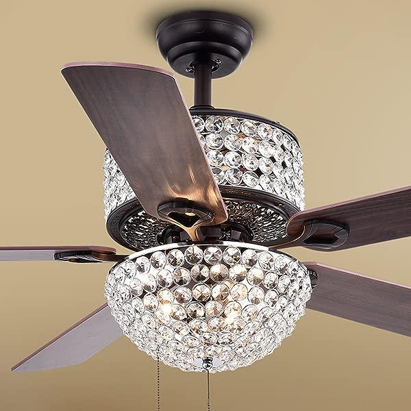 Warehouse Of Tiffany CFL 8170BL Laure Crystal 6 Light 52 Inch Ceiling Fan 52 W X 52 L X 20 H Multicolor