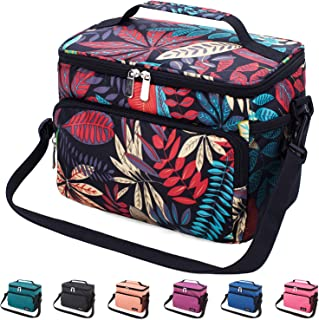 Leakproof Reusable Insulated Cooler Lunch Bag - Office Work Picnic Hiking Beach Lunch Box Organizer with Adjustable Shoulder Strap for Women,Men-Typical Black Leaf