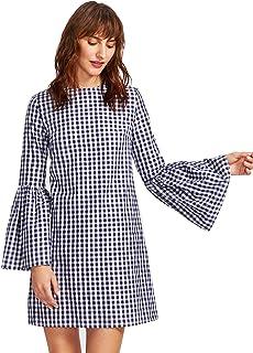Floerns Women's Bell Long Sleeve Shift Gingham Dress