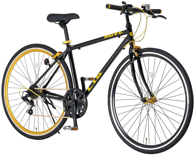 返還修正真似るLIG(リグ) クロスバイク 700C シマノ6段変速[サムシフター] 前輪クイックリリース 前後キャリパーブレーキ LIG MOVE 【ブラック/ホワイト】