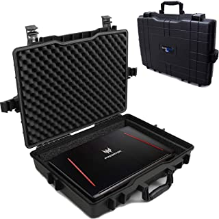 Casematix Waterproof Laptop Hard Case for 15 - 17 inch Gaming Laptops and Accessories - Rugged Heavy Duty Laptop Case for ...