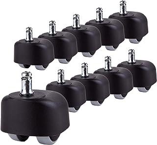 (Para 2 sillas) Ruedas de goma Ruedas para sillas de oficina de 50 mm Ruedas dobles Giratorias para vástagos universales de repuesto (10)