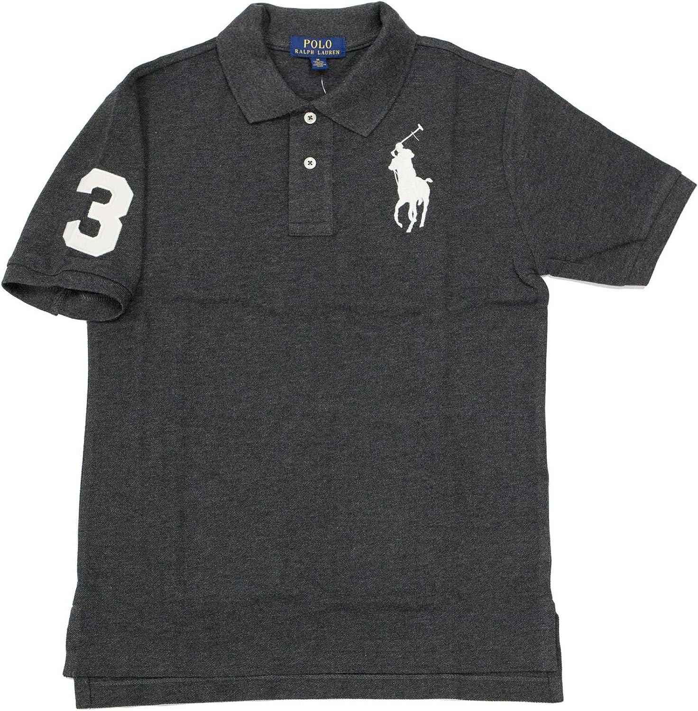 Polo Ralph Lauren Boy's Big Pony Cotton Mesh Polo Shirt, Gray, Small (8)