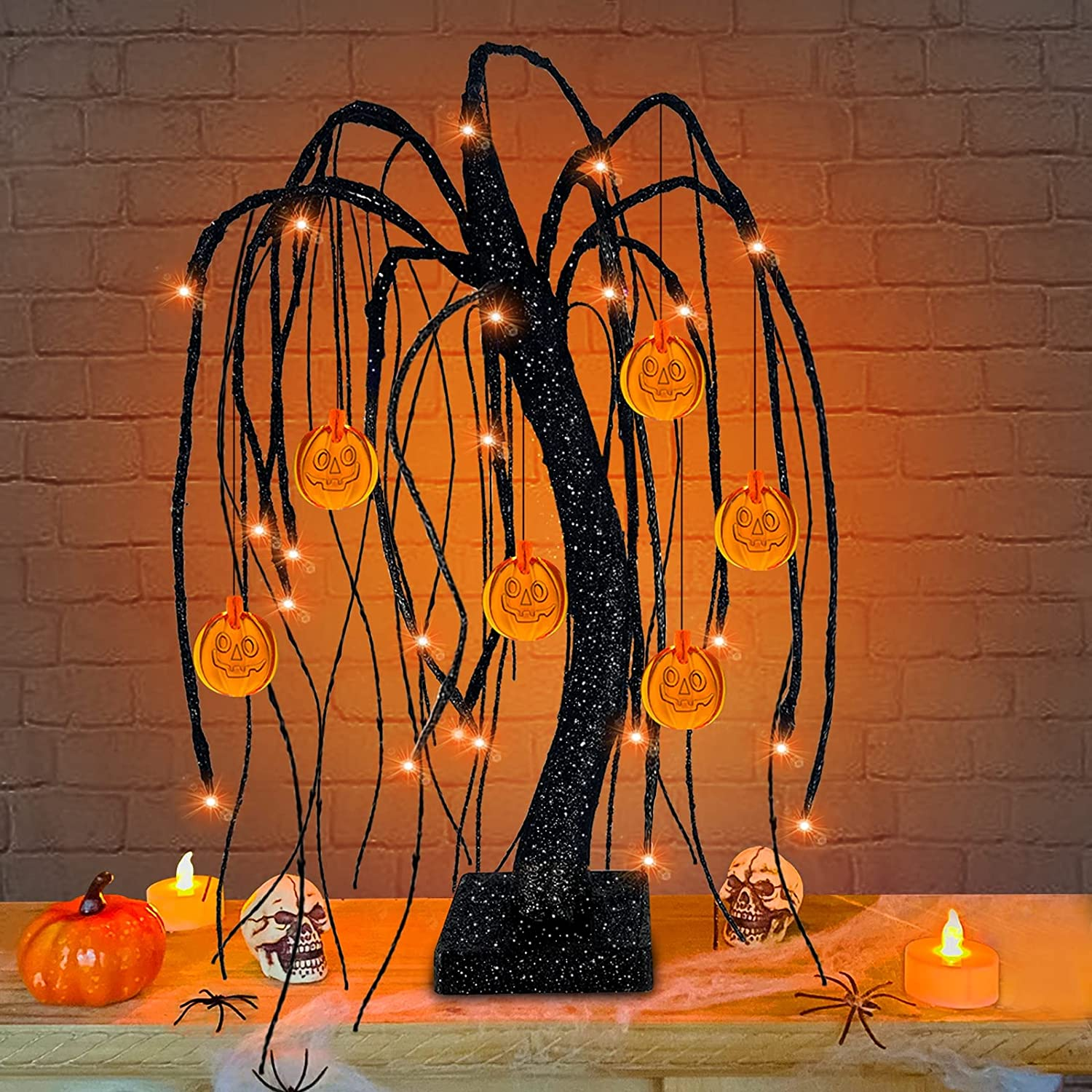 18'' Artificial Willow Tree Halloween Decor with Timer 24 Orange Lights and 6 Pumpkin Jack-o'-Lantern Halloween Lights Battery Powered Glitter Black Spooky Tree for Halloween Decorations Indoor Home