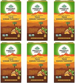 Pack of 3-Organic India Tulsi Ginger Turmeric 25 Tea Bags