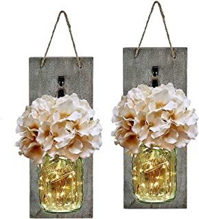 HABOM Rustic Mason Jar Wall Decor Sconces - Decorative Home Lighted Country House Hanging with LED Fairy Strip Lights and ...