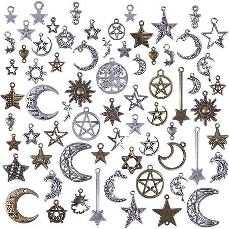 fabrication de bijoux pour collier et bracelet Chandler Lot de 80 petits pendentifs en argent vieilli avec breloques soleil lune et /étoiles pour bricolage