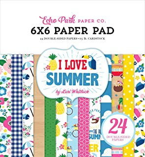 Echo Park Paper Company I Love Summer 6x6 Pad paper, pink, teal, green, yellow, blue, red