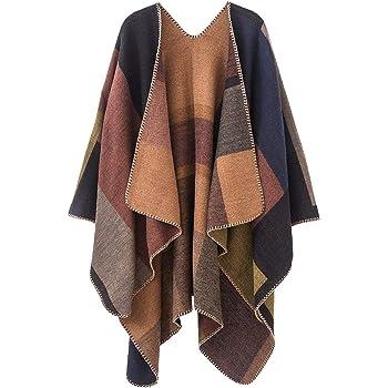 Women Lady Plaid Cashmere Scarf Winter Warm Blanket Cloak Poncho Shawl Wrap KS
