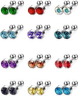 Mudder 12 Pairs 18 Gauge Stud Earrings Stainless Steel Barbell Studs Helix Earring Body Piercing Jewelry, 12 Colors