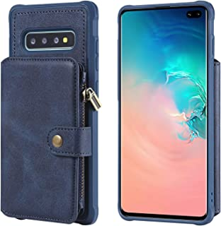 Samsung Galaxy S10 Case,Zipper Protective Cash Credit Card Holder Durable High Capacity Kickstand Cover Blue Shell