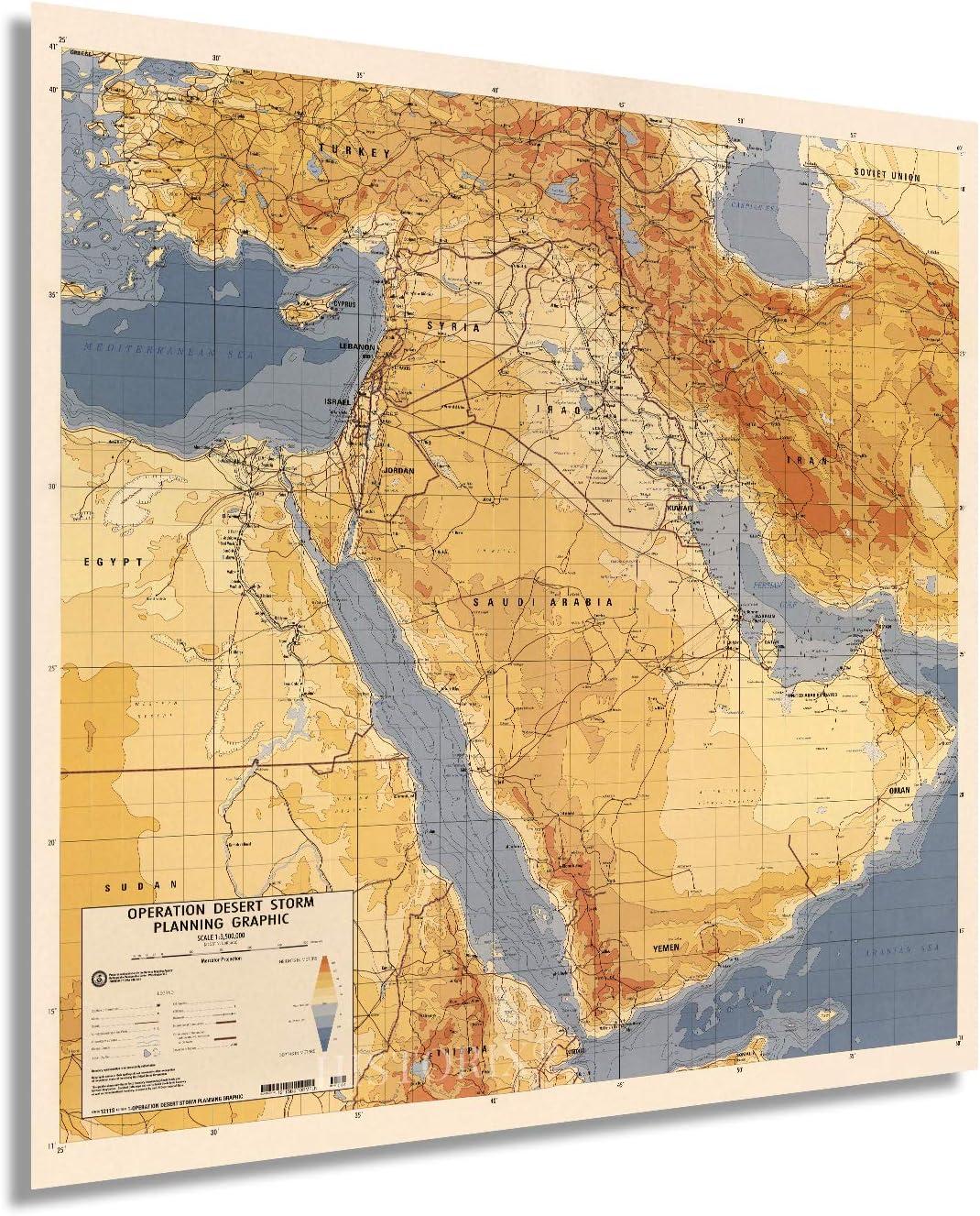 Historix 1991 shopping Operation Desert Storm New Shipping Free Map Inch 24x24 -