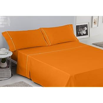 ES-TELA - Juego de sábanas LISOS BIÉS color Naranja (3 piezas) - Cama de 150 cm. - 50% Algodón / 50% Poliéster - 144 Hilos: Amazon.es: Hogar