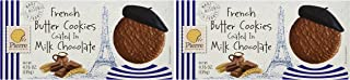 Pierre Biscuiterie French Butter Cookies Coated in Milk Chocolate 4.76 Oz. Box (Pack of 2)