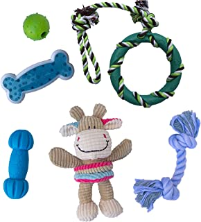 rocket & rex Dog Puppy Chew Toys. Puppy Teething Toys for Small to Medium Dogs. for Puppy Teething and Gums, Dog Teeth Cleaning. Durable, Healthy, Natural Rubber and Cotton Dog Chew Toys. 6 Toy Pack.