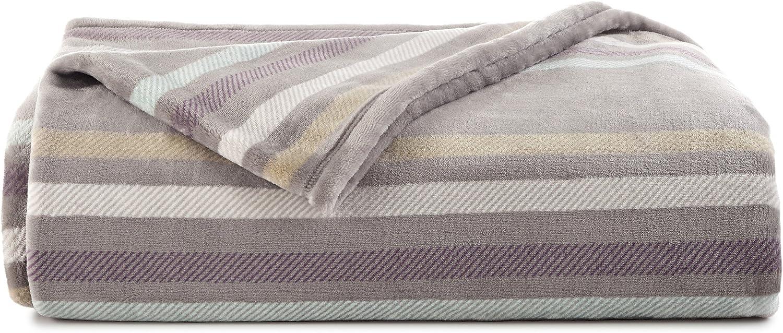 Vellux Emmitt Stripe Plush Blanket, Full Queen