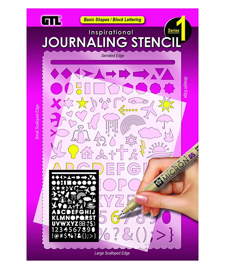 Basic Shapes Block Lettering Pink 8 x 6 Acrylic Inspirational Journaling Stencil