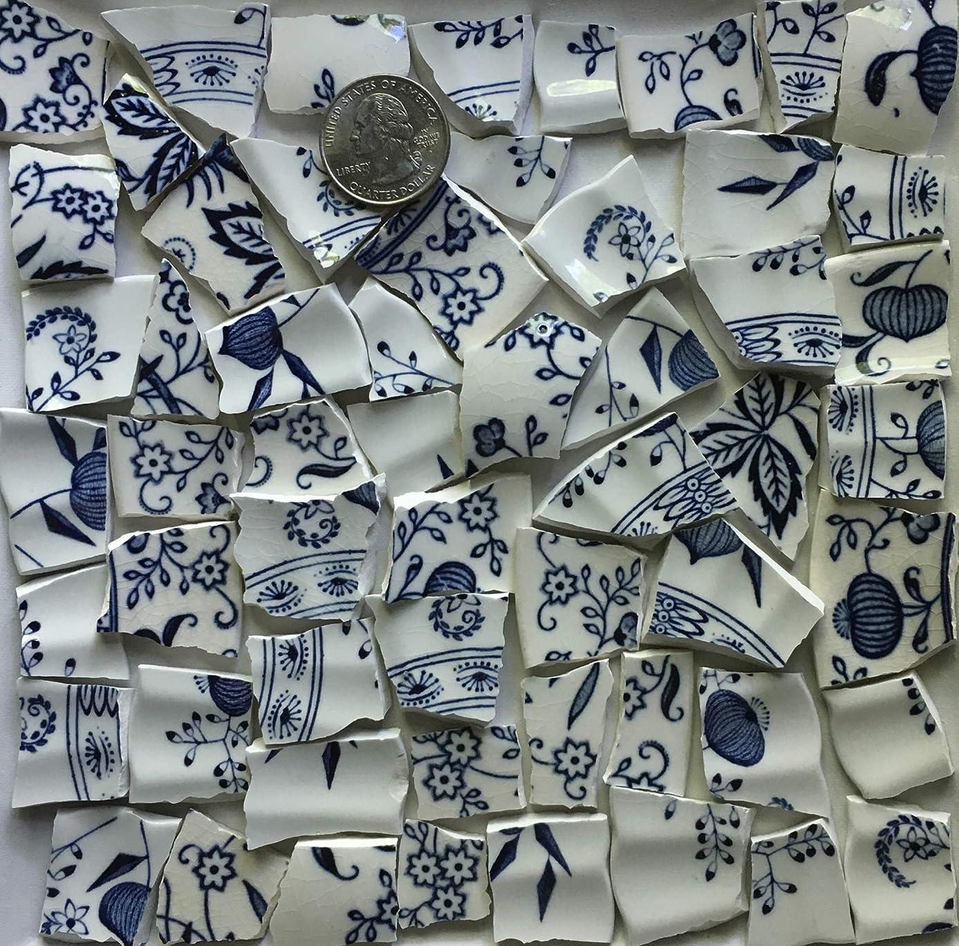 Mosaic Art & Crafts Supply ~ Classic Vintage Blue & White China Tiles (B584)