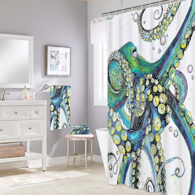 Alishomtll 4 Piece Octopus San Antonio Mall Shower Tow Los Angeles Mall Curtain Set Bath Includes