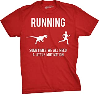 Mens Running Motivation Raptor Chase T Shirt Funny Dinosaur Tee Nerdy Graphic