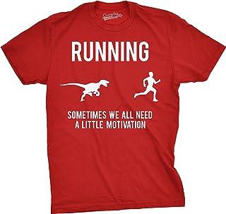Mens Running Motivation Raptor Chase T Shirt Funny Dinosaur Tee Nerdy Graphic