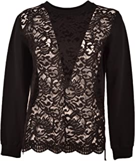 65d4da97dcb2f6 TWENTY EASY KAOS. Black Roundneck Lace Sweatshirt Sweater Fabric1 95%  Cotton 5% Elastan