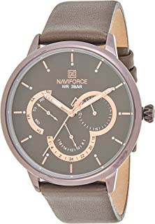 Naviforce Men's Coffee Dial Genuine Leather Analogue Classic Watch - NF3011-CEGYDBN
