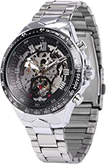 AMPM24 Men's Mechanical Watch Silver Steel Skeleton Dial Black Round PMW107