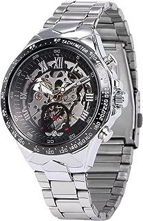 AMPM24 Men's Mechanical Watch Silver Steel Skeleton Dial Black Round PMW107