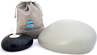 Eternity Pebble Modern Urn for Human Ashes - Includes Pebble Shaped Cremation Urn and Memorial Pebble, Velvet Ashes Keepsake Bag and Premium Memory Box (Grey, Medium)